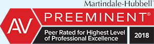 Martindale-Hubbell AV Preeminent Peer rated for Highest Level of Professional Excellence 2018