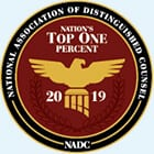 National Association of Distinguised Counsel - Nations Top One Percent 2019